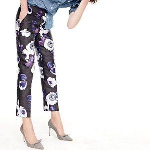 J CREW Womens Violet & Black Floral Ankle Pants 2T